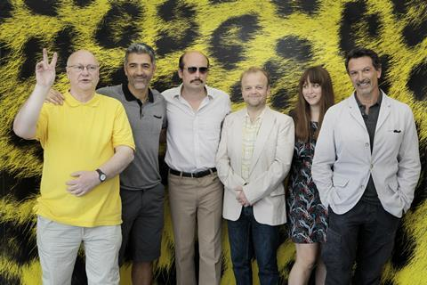 The Barberian Sound Studio gang: Keith Griffiths, producer, Antonio Mancino, actor, Peter Strickland, director, Toby Jones, actor, Mary Burke, producer and Cosimo Fusco, actor.